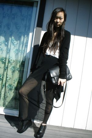 black f21 sweater - white Gap shirt - black My moms skirt - black f21 shoes - bl