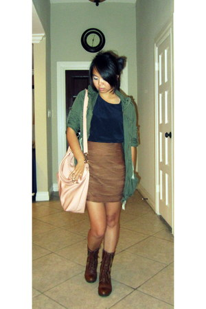 pink Nine West bag - navy thrifted top - brown cotton on skirt