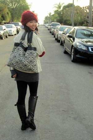 crochet Forever 21 hat - thrifted jacket - Forever 21 leggings - SO cardigan