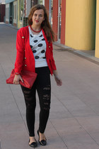 white polka dot Worthington sweater - red Moda International jacket