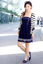 navy kitty Flauntcc shoes - navy Flauntcc dress - red Urban Outfitters bag