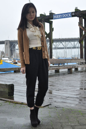 black Forever 21 boots - cream wilfred blouse - black wilfred pants - mustard Za