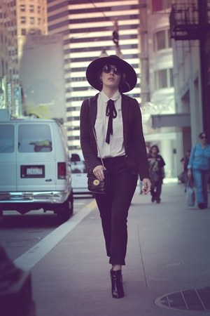 black Zara boots - black H&amp;M hat - black Marc by Marc Jacobs blazer