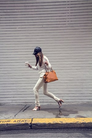 white nastygal sweater - black H&M hat - ivory A Moveable Feast pants
