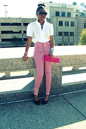 pink and white Cemi Ceri leggings - white MNG shirt - hot pink bag - heels