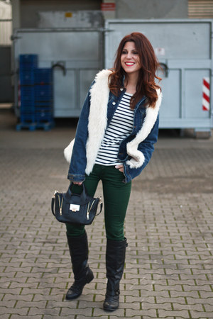 faux fur H&M vest - denim Zara jacket - Oysho t-shirt