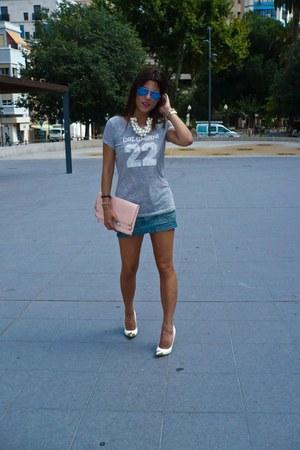 Zara t-shirt - Zara necklace - deichman heels