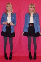 blue denim The warehouse top - black boots - cream chiffon asos shirt