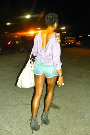 purple shirt - blue Forever21 shorts - silver H&M purse