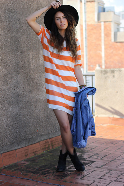 stripe dress Resterds dress - denim jacket vintage jacket