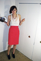 white Urban Outfitters top - gold American Apparel bra - red FashionMonger Vinta