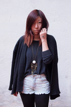 bronze DIY bracelet - black wilfred jacket - charcoal gray wilfred sweater