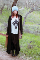 black cotton on leggings - off white Tobi top - black maxi thrifted cardigan