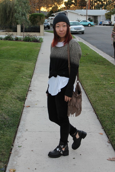 dark gray evil twin sweater - black Jeffrey Campbell boots