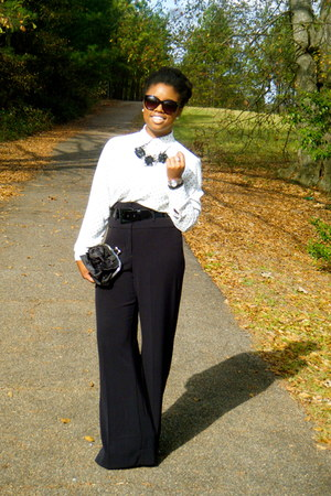 black worthington JCPenney pants - white polka dots Emma James top