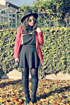 Forever 21 boots - River Island dress - Stradivarius blazer - Forever 21 glasses