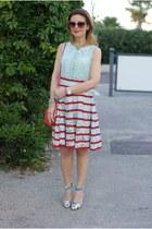 red Zara bag - aquamarine Chicwish dress