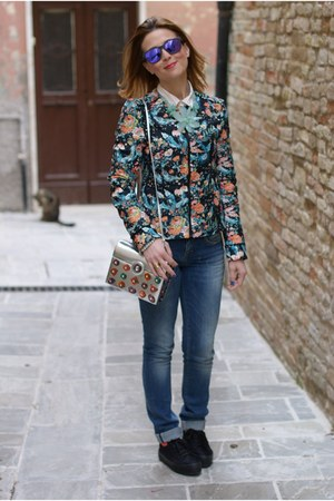 navy floral printed Pull & Bear jacket - blue Jeans West jeans