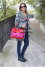 Heather-gray-houndstooth-chicwish-coat-hot-pink-marc-by-marc-jacobs-bag