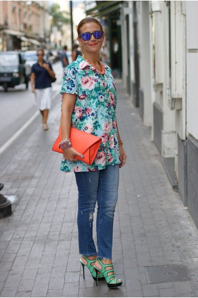 aquamarine floral print Kenzo shirt - blue Zara jeans - carrot orange Zara bag