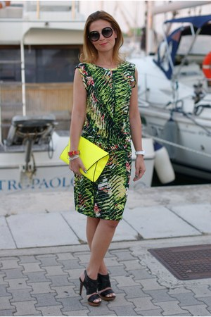 green jungle dress Kenzo dress - yellow neon yellow Zara bag