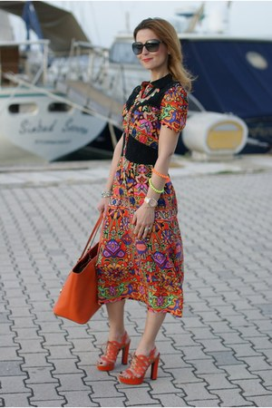 carrot orange aztec print asoscom dress - orange tangerine tote Michael Kors bag