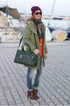 dark green parka Campo V jacket - dark brown arfango boots - blue LeRock jeans