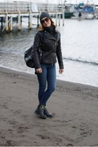 black leather jacket Elisabetta Franchi jacket - black b&h boots
