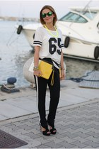 white number tee Pull and Bear t-shirt - white PERSUNMALL bag