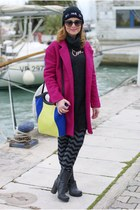 Fuchsia coat, color block bag