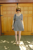 striped telltale hearts dress - suede cutout Zara bag - Swedish Hasbeens clogs