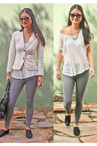 cream blazer kensie blazer - jean leggings HUE leggings