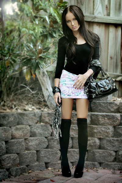 black top - white supre skirt - black Razzamatazz stockings - black Wildfire sho