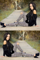 black Dazzling top - vintage leggings - black London Rebel shoes - gold Equip ne