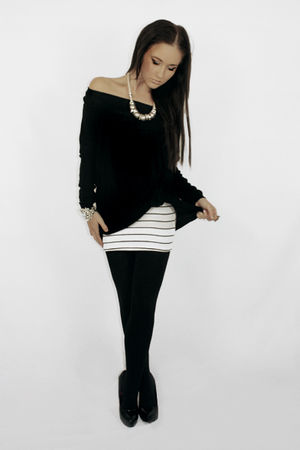 white cotton on dress - black Dazzling top - black Razzamatazz stockings - black