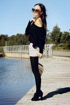 black Dazzling top - beige supre skirt - black vintage belt - brown Equip access