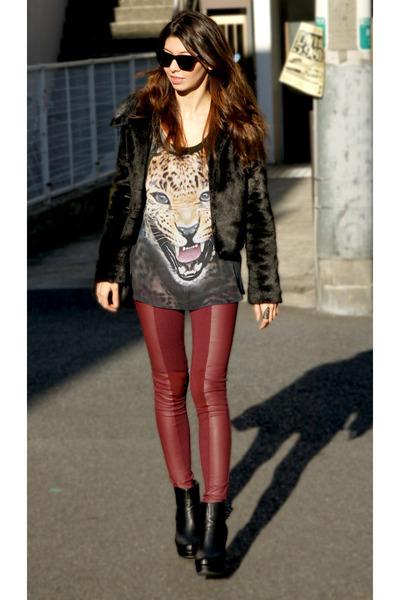 black leather jacket H&M jacket - black faux fur LoveBoat jacket