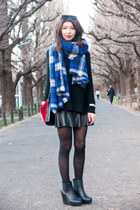 blue tartan Zara scarf - ruby red Zara bag - black leather Forever 21 skirt