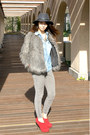 Red-asos-shoes-heather-gray-faux-fur-mango-coat-gray-gap-hat
