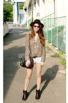 black H&M hat - white Bershka shorts - dark brown leopard print H&M blouse