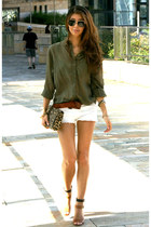 leopard print H&M bag - white denim Bershka shorts - khaki green H&M blouse
