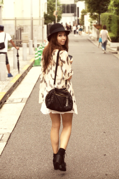 black suede H&M hat - black boots H&M boots - white dress H&M dress