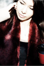 Crimson-oxblood-forever-21-scarf-black-ankle-boots-h-m-boots