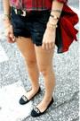 Red-suede-zara-bag-ruby-red-forever-21-shirt-navy-zara-shorts