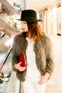 Heather-gray-faux-fur-mango-coat-ruby-red-clutch-leather-zara-bag