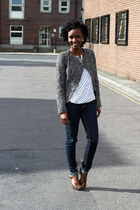 tweed jacket Primark blazer - navy indigo jeans TK Maxx jeans - Peacocks blouse