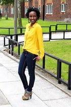 yellow blouse blouse - jeans - brown belt belt - sandals - earrings