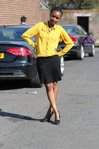 yellow blouse blouse - studded heels heels - lace skirt skirt