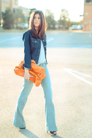 light blue sold design lab jeans - navy denim Gap jacket - orange melie bianco b