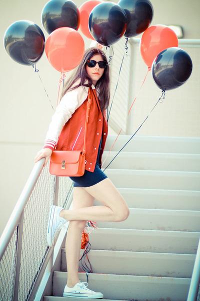 varsity asos jacket - American Apparel dress - shampalove bag